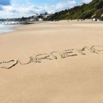 Bournemouth beach writing