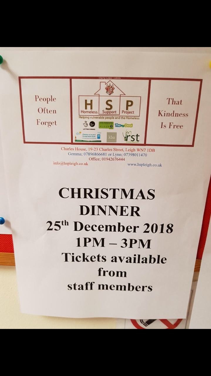 Wigan Athletic Supporters Club gift Christmas Dinner to HSP